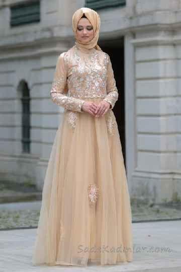 57f26b5c64fa6 Tesettür Abiye Elbise Modelleri Somon Uzun Etekleri Tüllü Nakış İşlemeli | Abiye  Elbise Modelleri | Somon, Elbise modelleri, Elbiseler