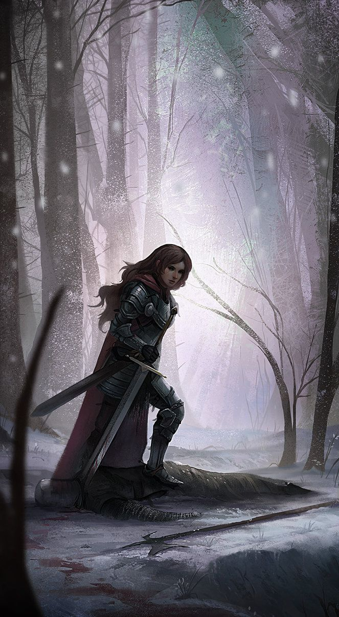Ansel, beautiful painting of woman warrior, knight, in full plate armor with a sword, walking through a snowy forest.