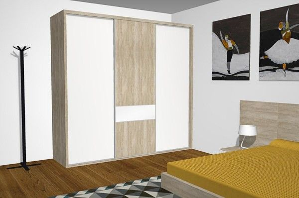 Armario de tres puertas correderas con puerta central for Armarios para salon