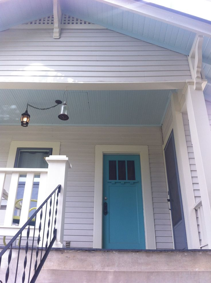 light gray almost white house turquoise door with pale. Black Bedroom Furniture Sets. Home Design Ideas