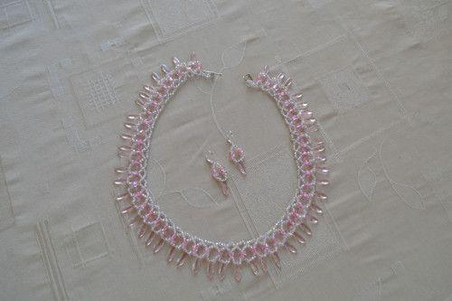 Růžová souprava - náhrdelník , náušnice