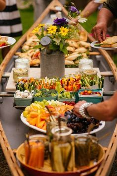How to set up an outdoor buffet in a canoe!