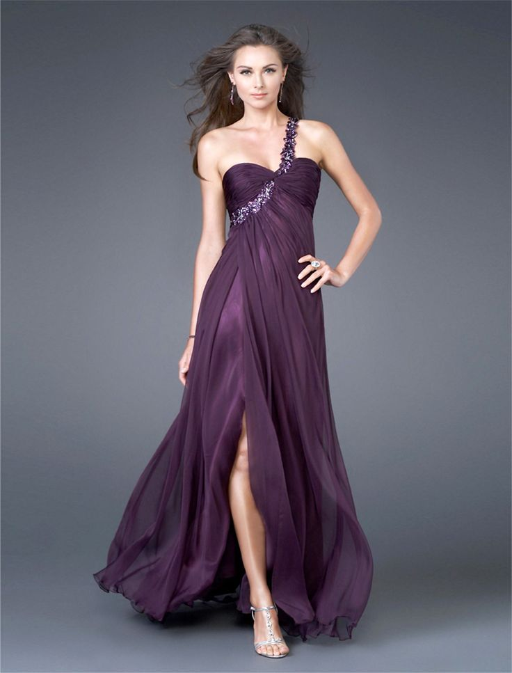 Draping One Shoulder Beaded Burgundy Evening Dress