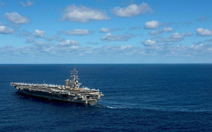 Download imagens American porta-aviões, USS Ronald Reagan, CVN 76, Nimitz, porta-aviões nuclear, oceano, Da Marinha dos EUA, EUA