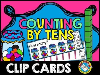 SKIP COUNTING TASK CARDS - COUNTING BY TENS - COUNT AND CLIP - NUMBERS 10 TO 100 This hands-on fun pack, containing 20 task cards, is an ideal resource for your Math Center!  Each jar contains 10 jellybeans and each tower contains ten cubes.  Children have to count the objects in tens and clip the peg onto the corresponding number.All you have to do is print, laminate and cut out the task cards.