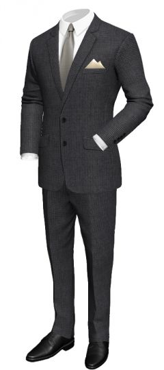 Regular fit suit in wool: Regular fit Fine diamond-shaped woven pattern 4 Sleeve buttons Black neck lining Black pocket square  http://www.tailor4less.com/en/collections/custom-suit/premium-suits-collection/regular-fit-suit-in-wool