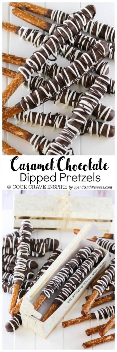 This Caramel Chocolate Covered Pretzels recipe is the perfect homemade Christmas gift for anyone on your list! They're easy to make and pretty! Get creative with sprinkles, nuts, coconut or toffee bits. These are perfect for any occasion including baby shower favors or even little thank you gifts!