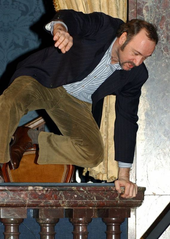 Kevin Spacey • Kevin leaps off the balcony during his'One Knight...