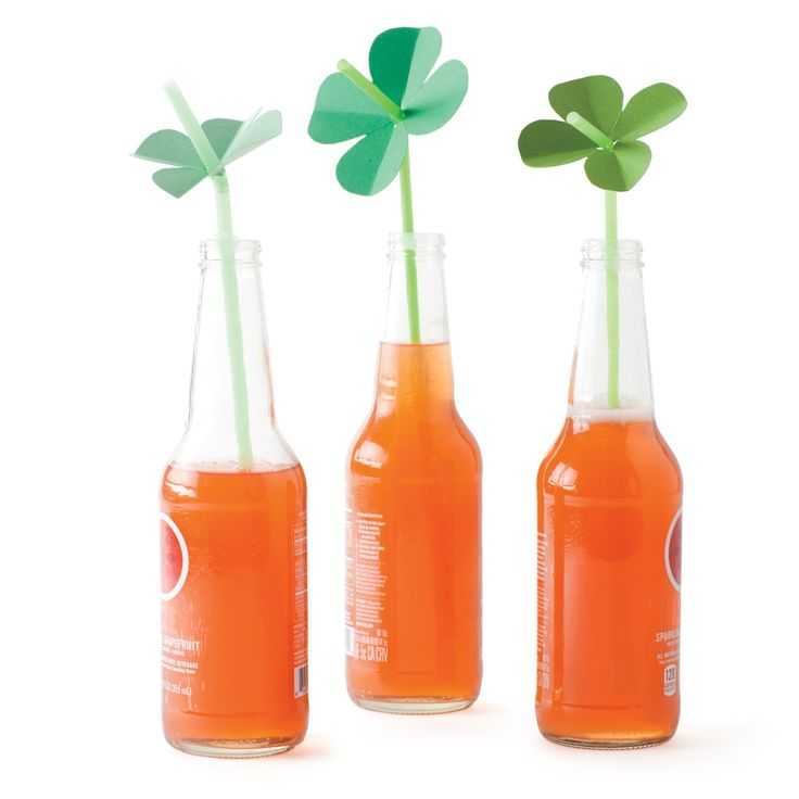 As a nod to Saint Patrick's Day, let your kids create their own luck with four-leaf-clover straw toppers.