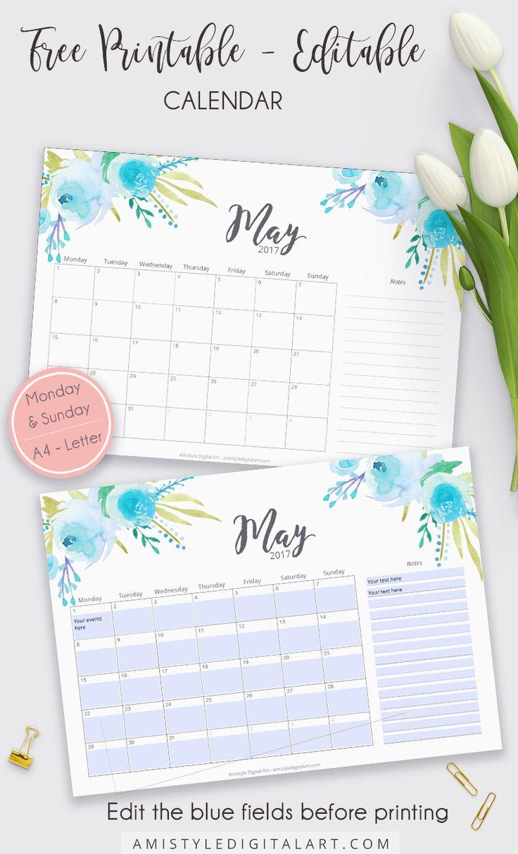 editable may 2018 calendar