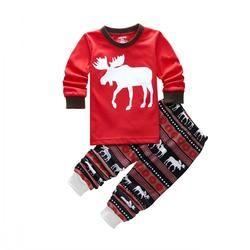 Christmas Pajama Sets Cotton Kids Baby Boy Girl Xmas Reindeer Sleepwear Nightwear Pajamas Clothes Set