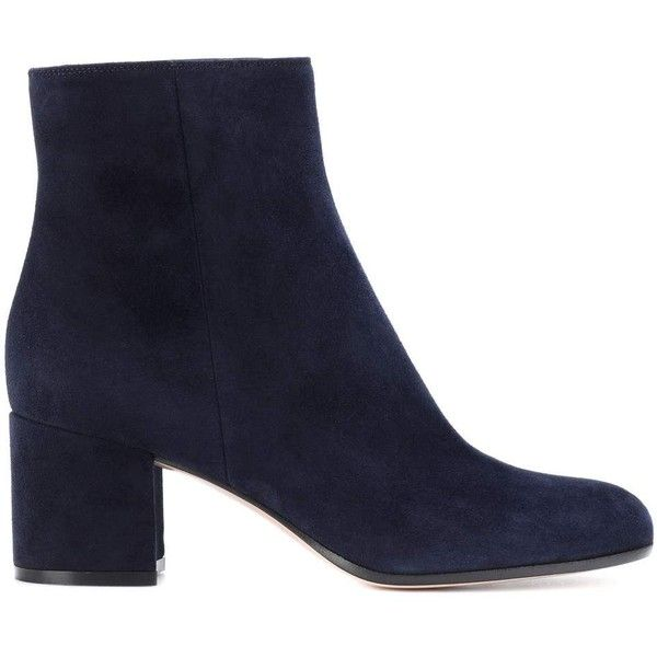 Exclusive to mytheresa.com Margaux Mid suede ankle boots ($755) ❤ liked on Polyvore featuring shoes, boots, ankle booties, suede ankle bootie, navy blue suede boots, navy blue ankle boots, navy bootie and suede booties