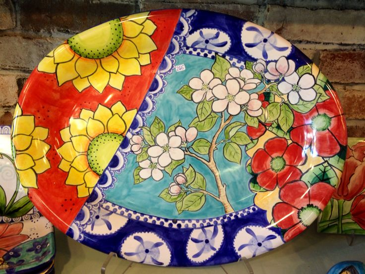 Large oval platter painted by Juliana at Damariscotta Pottery