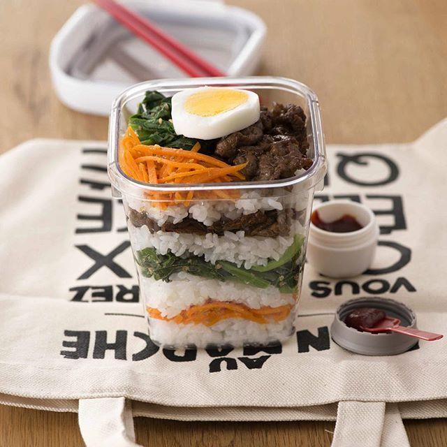 今日のミル弁「ビビンバ弁当」 「ミル弁」とは「ミルフィーユ弁当」の略称です! #ミルフィーユ弁当#ミル弁#お弁当 #肉#おしゃれ#昼ごはん#かんたん #らくちん#ごはん#ランチ#てづくり#弁当箱#おいしい#bento#lunch#cooking#フォロー#重ね