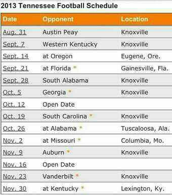 2013 Tennessee Football Schedule