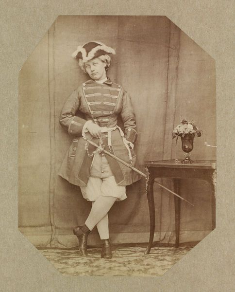 1863-64 photographic study by Clementina, Lady Hawarden, of her daughter in fancy dress as an 18th-century soldier. V&A Museum.