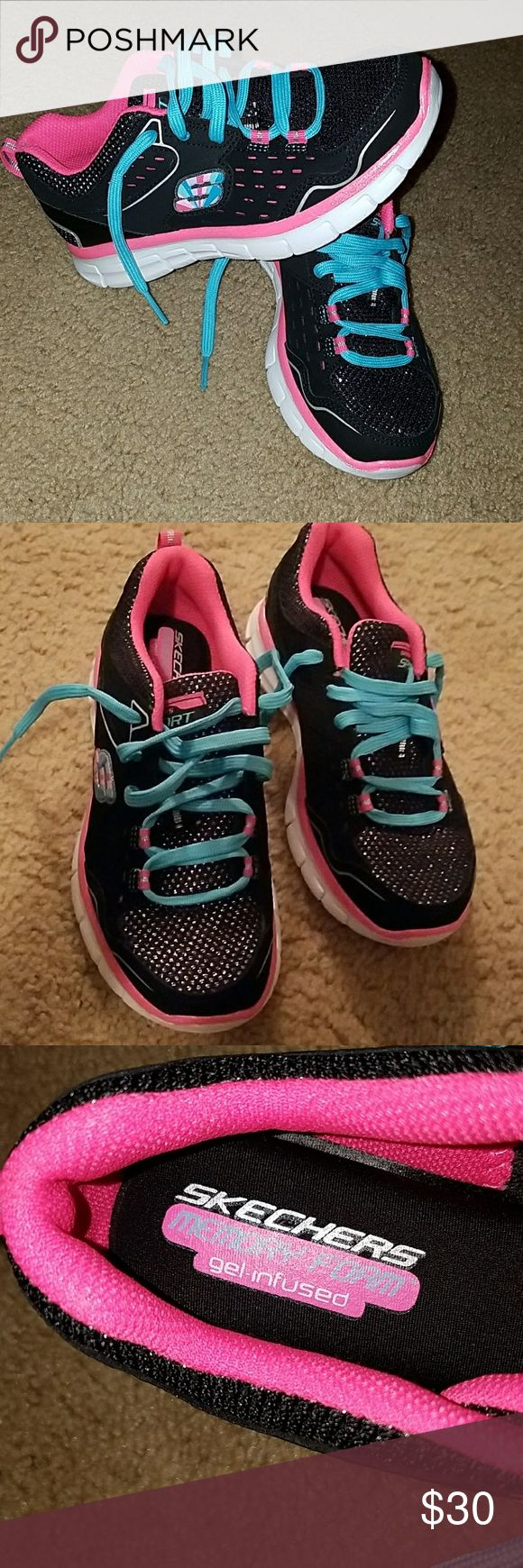 Girls Skechers Black, pink, blue and glitter skechers memory foam gel infused shoes. Never worn comes with white laces and blue. There is gel in the insole that makes them comfortable ske Skechers Shoes Sneakers