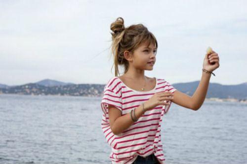 exotic little model: Little Girls, Thylane Lenaro, Messy Buns, Fashion Photography, Stripes, Lena Ros Blondeau, Thylane Blondeau, Thylane Lena Ros, Photography Kids