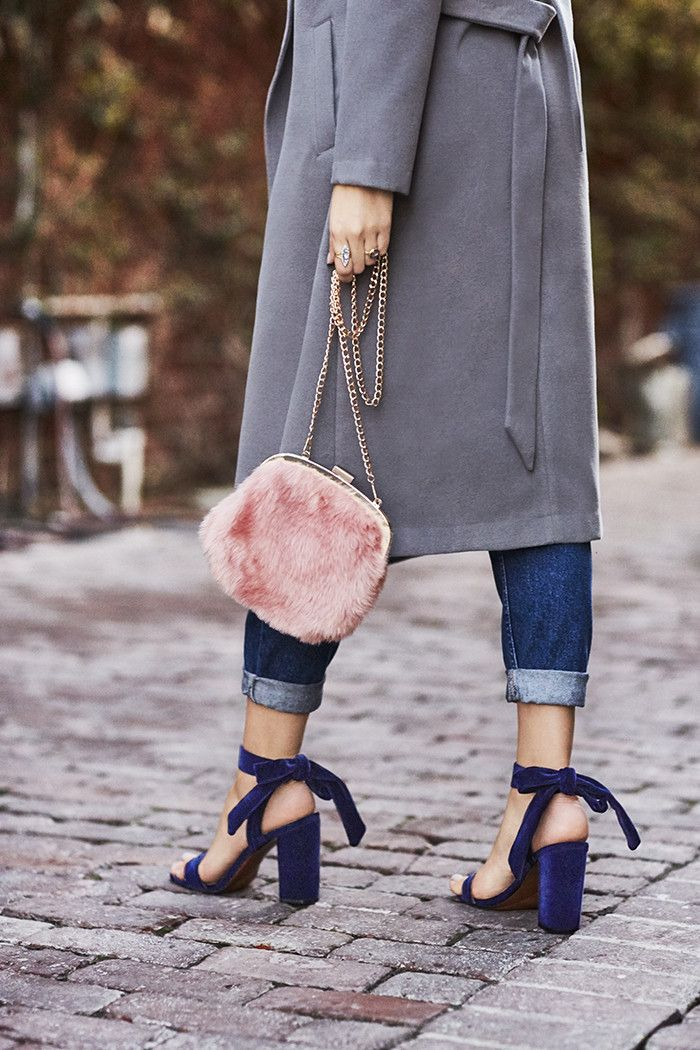 Who What Wear Michaela Velvet Ankle Tie Sandals ($38) Fashion Alert! The Who What Wear Shoes Just Dropped via @WhoWhatWear