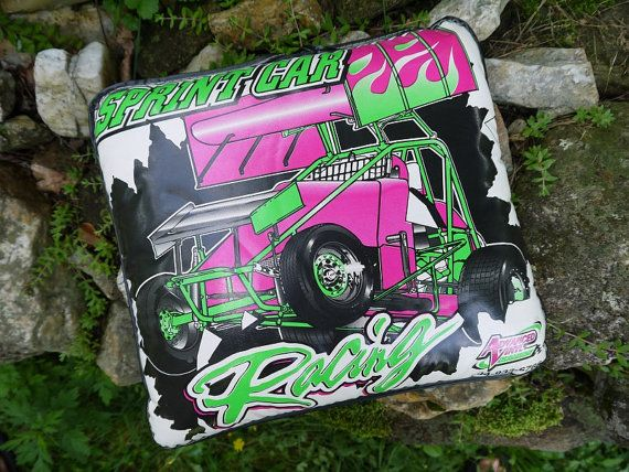 Vintage Sprint Car Racing Seat Cushion by LovesAllThingsYou