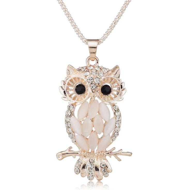 Sparkling Owl Crystal Necklaces