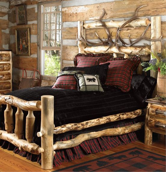 Elk Antler Aspen Log Bed   Full Found In Our Rustic Log Beds At Home  Furniture Design Ideas.