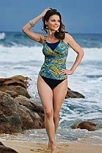 Aqua/Yellow Toledo Mastectomy Tankini - The Toledo halter neck tankini has high neck coverage to allow you wear it in confidence if you have high scaring. The Tankini is also available in a green/black print.  All our swimsuits come with fitted pockets to hold your prosthesis securely and discreetly. Where no specific cup size is stated, the swimsuit will fit a general B/C/D cup size.