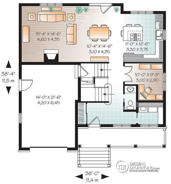 Plan de Rez-de-chaussée 2 étages, plan de maison champêtre avec pierres, cuisine / séjour à aire ouverte, 3 grandes chambres, garage - Dempsey 3