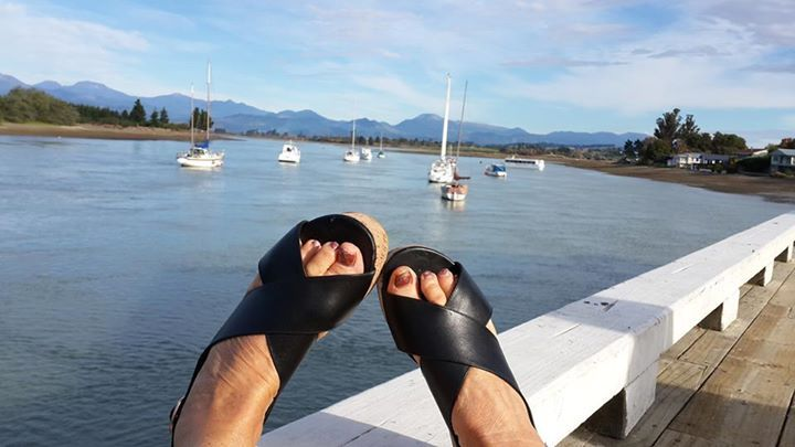 Janthia Holt - Feet up in Mapua on a glorious autumn day. So comfortable .... love them!