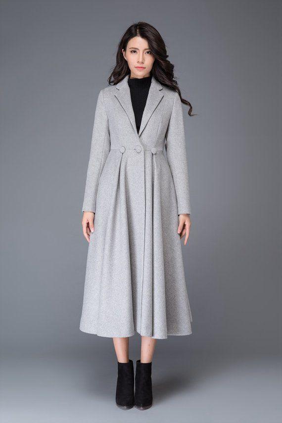 f4045f768 Gray coat, wool coat, winter coat, princess coat, long coat, womens ...