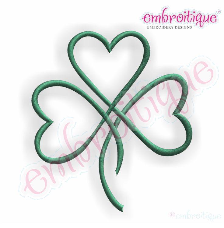 shamrock hearts   Shamrock Heart Satin Stitch Outline - Irish St. Patrick's Day