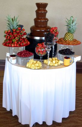 My mom has a chocolate fountain! This could be easy and fun! If we didnt want chocolate, maybe fondue or cheese?!