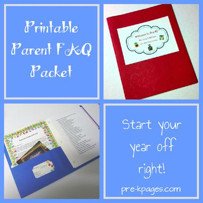 Printable Parent Handbook FAQ Packet from www.pre-kpages.com