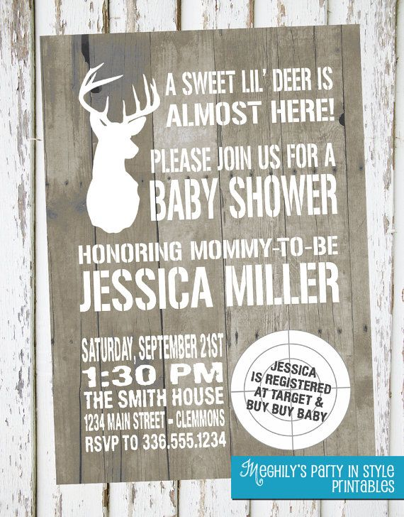 hunting theme sweet lilu0027 deer baby shower invitation
