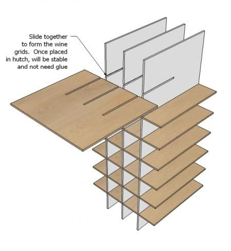 Ana White   Build a Modular Bar Wine Grid Hutch   Free and Easy DIY Project and Furniture Plans