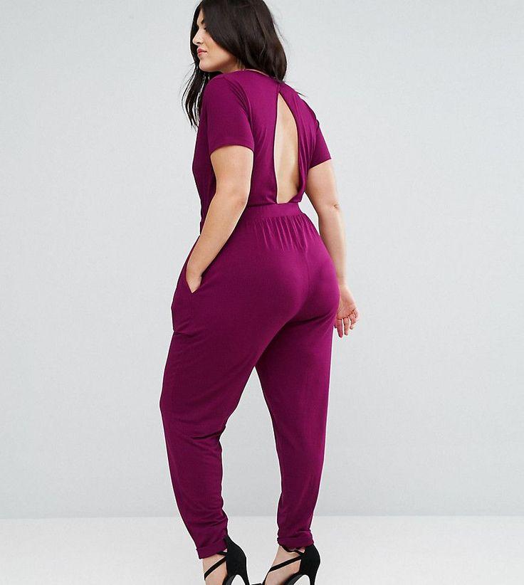ASOS CURVE Wrap Jumpsuit with Short Sleeve - Purple