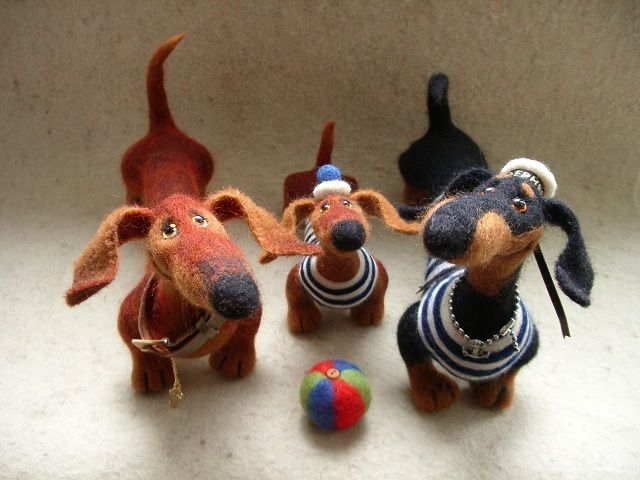 felt teckels  Авторские игрушки Татьяны Самотошиной - Шерстяные таксики