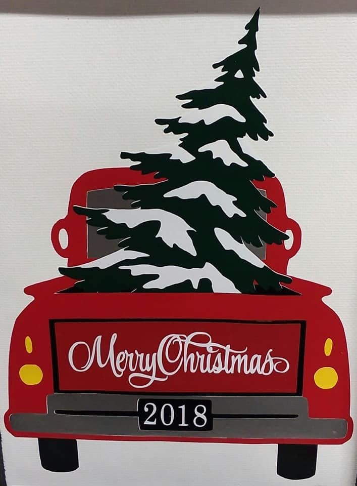 Old Truck With Christmas Tree Painting.Old Truck Christmas Screens Windows Painting Oh My