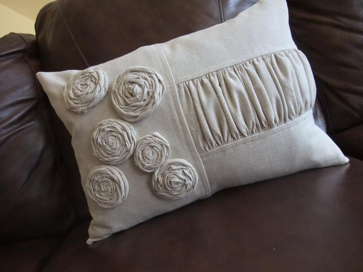Just Another Hang Up: Rosette Garden Pillow: Rosette Garden, Rosette Pillow, Pillows Etc, Sewing, Cushion, Crafty Inspiration, Craft Ideas, Ja Pillows