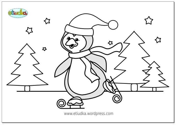 kleurplaat pinguin / pingwin : Kerst : Pinterest : Winter