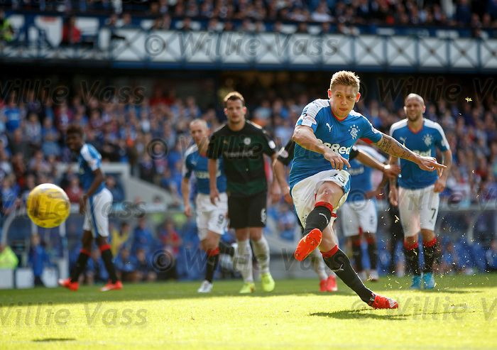 Martyn Waghorn scores Rangers' fifth goal from the penalty spot