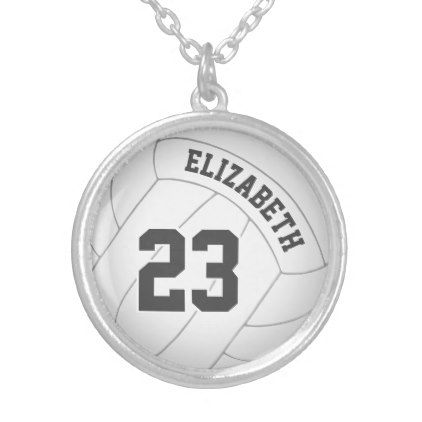 volleyball necklace w player's name/jersey number - jewelry jewellery unique special diy gift present