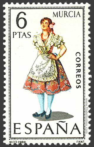 Trajes regionales españoles en sellos MURCIA