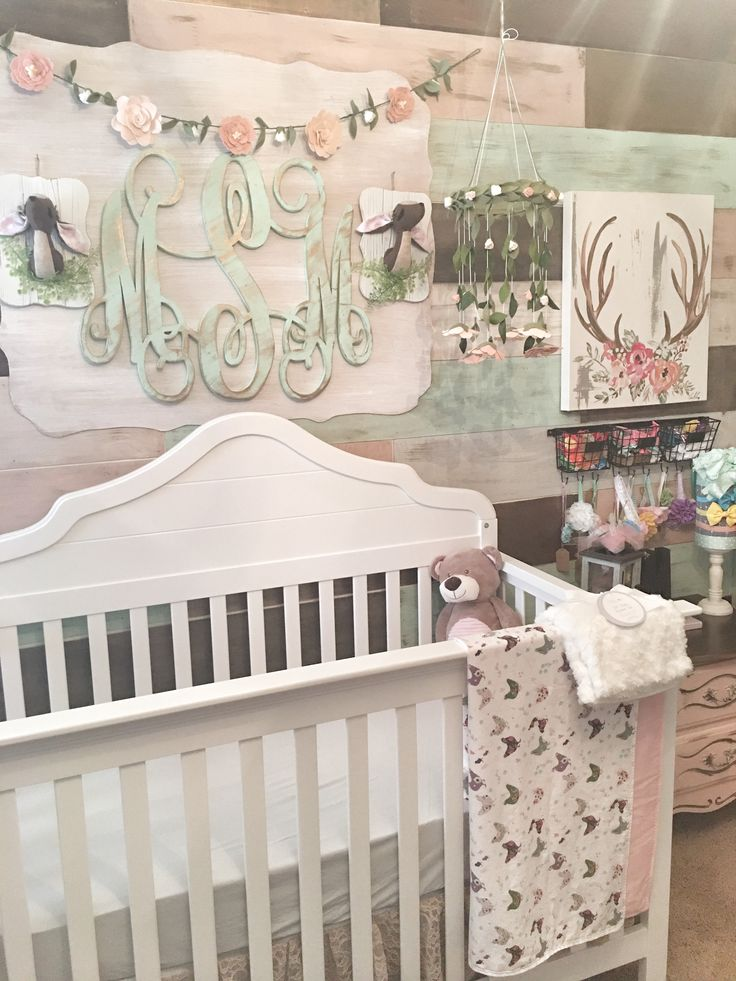 Rustic Glam Pallet Wall by the Rustic Apple. Baby girl nursery