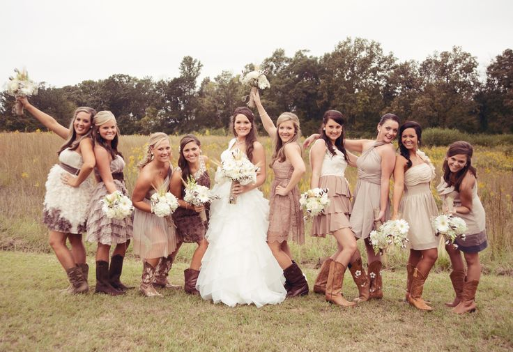 Rustic Bridesmaid Dresses  Have your favorite ladies wear something short and sweet. Look for ruffle detailing, textured embellishments like a knotted or braided halter top, lace, and opt for cowboy boots to add some country charm.