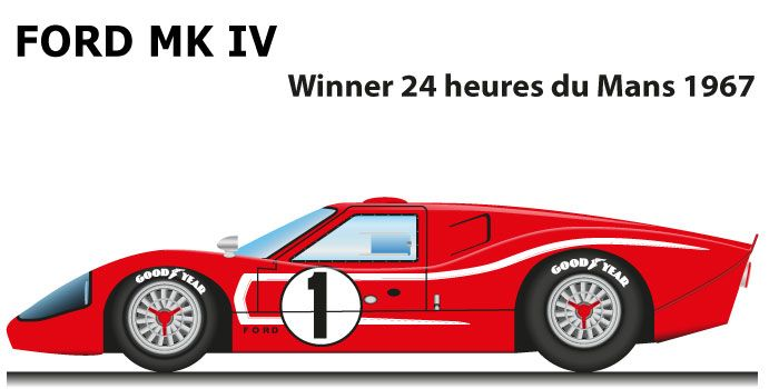 Ford Gt40 Mk Iv N 1 Winner 24 Hours Of Le Mans 1967 With Foyt And