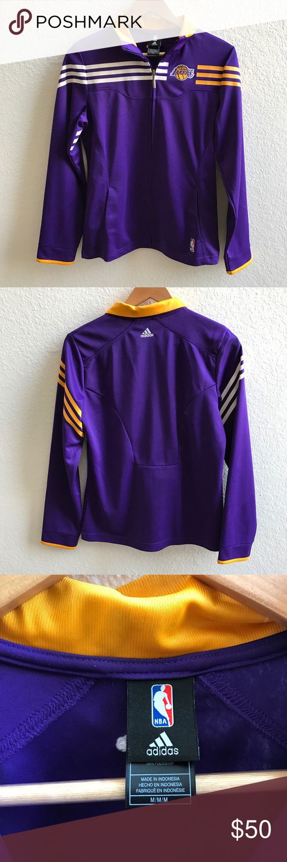 Adidas Los Angeles Lakers Track Jacket Size M Official NBA Lakers Los Angeles track jacket. Worn once, excellent condition. 100% polyester. Adidas Jackets & Coats
