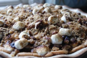 Marshmallow Streusel Sweet Potato Pie with a cinnamon roll pie crust
