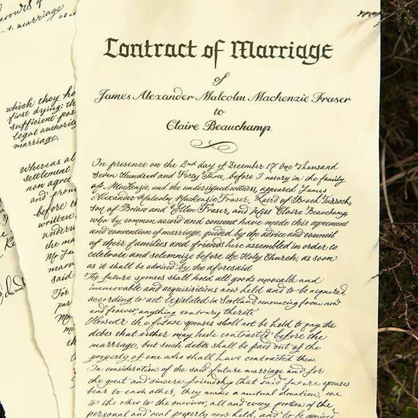 233 best Outlander Wedding images on Pinterest Gray, Book and Books - marriage contract