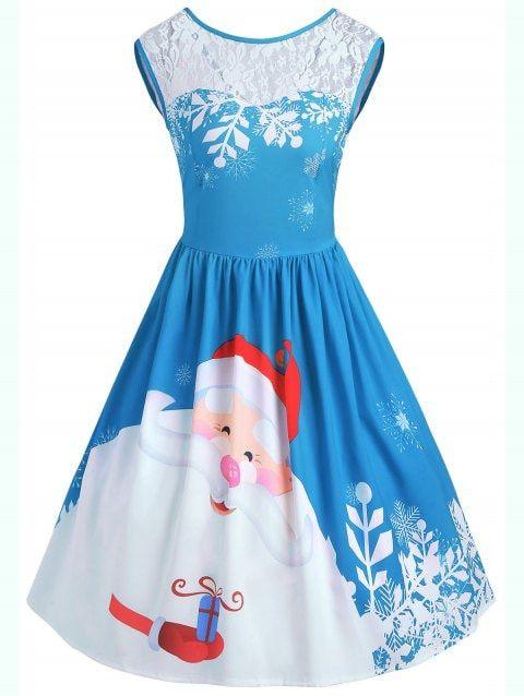 d34e32a4c39c Christmas Lace Insert Santa Claus Print Party Dress - BLUE XL ...